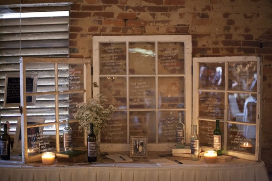 West Overton Barn Scottsdale Wedding Vintage Guest Book Table with Window Pane Seating Chart