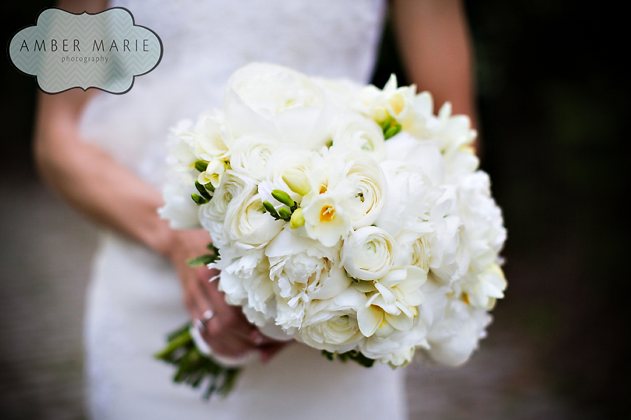Carnegie Museums Pittsburgh Wedding - White Bridal Bouquet Wrapped in Ribbon