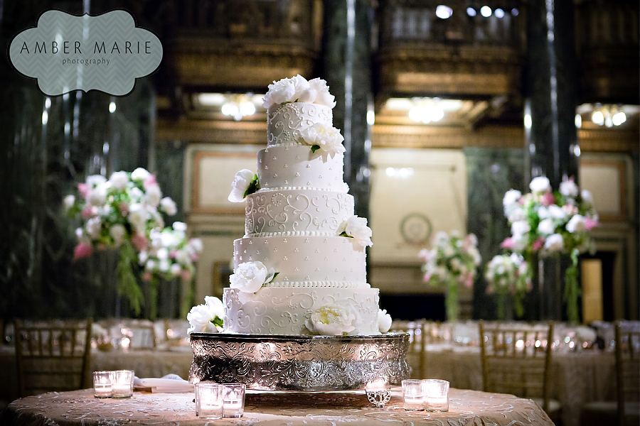 Carnegie Museums Pittsburgh Wedding Reception - White Floral Wedding Cake