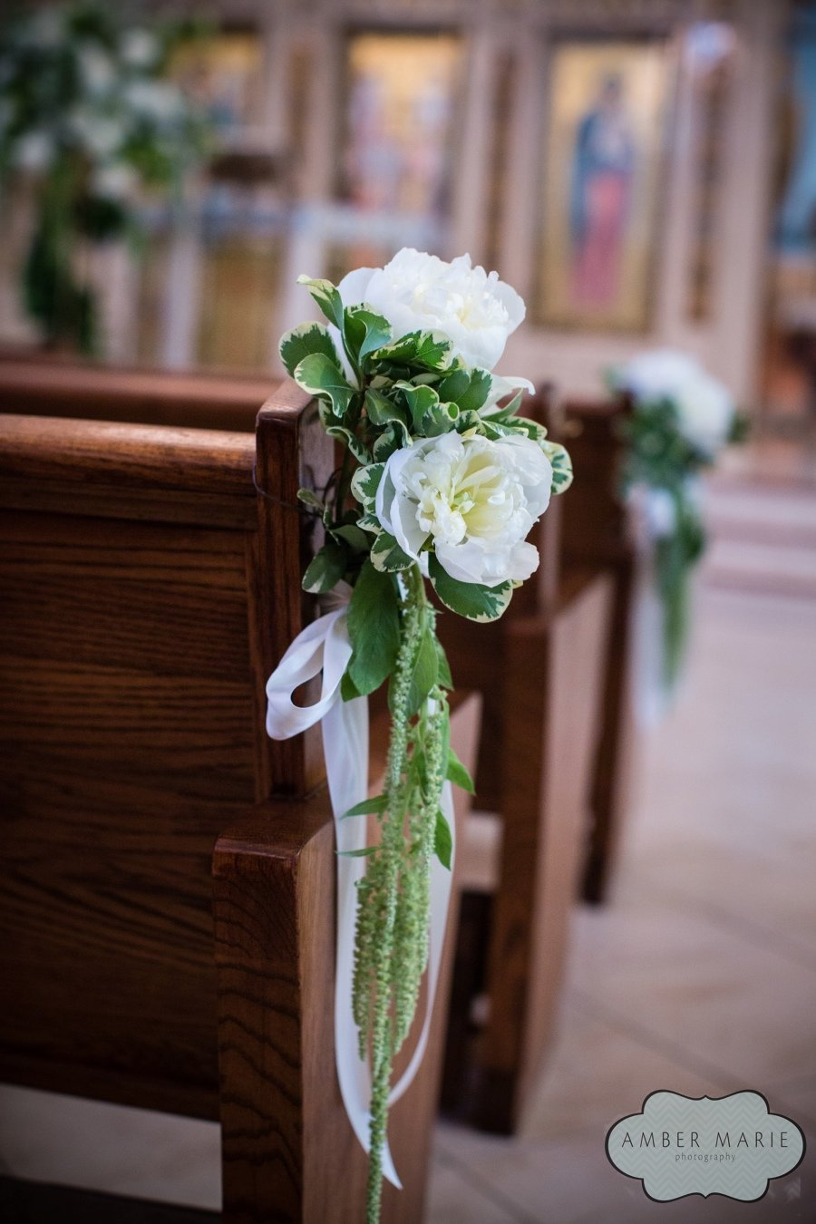 Carnegie Museums Pittsburgh Wedding Ceremony - White Peonies on Church Pews
