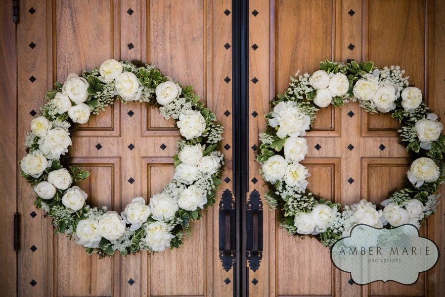 Carnegie Museums Pittsburgh Wedding Ceremony - White Wreaths on Church Doors