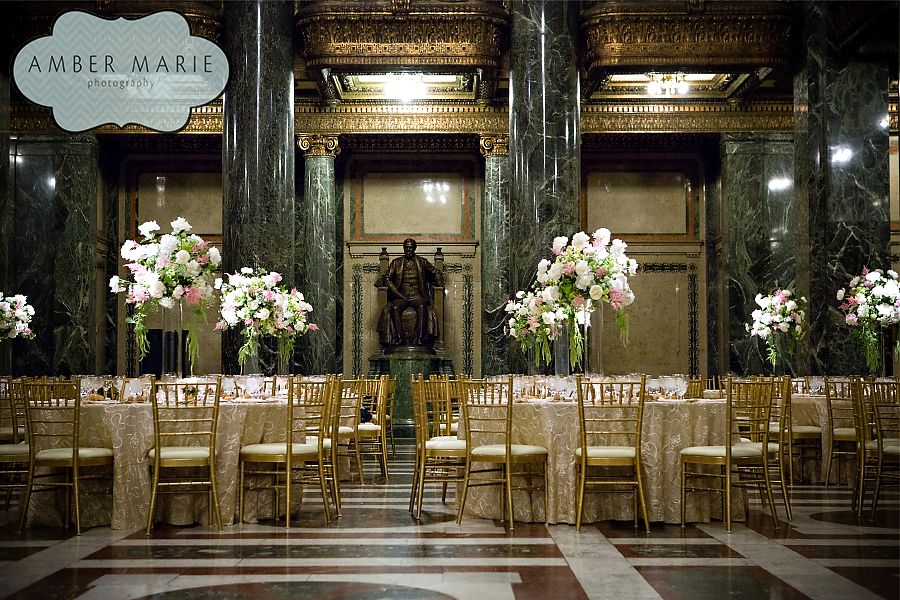 Carnegie Museums Pittsburgh Wedding Reception - Tables with Tall Floral Centerpieces