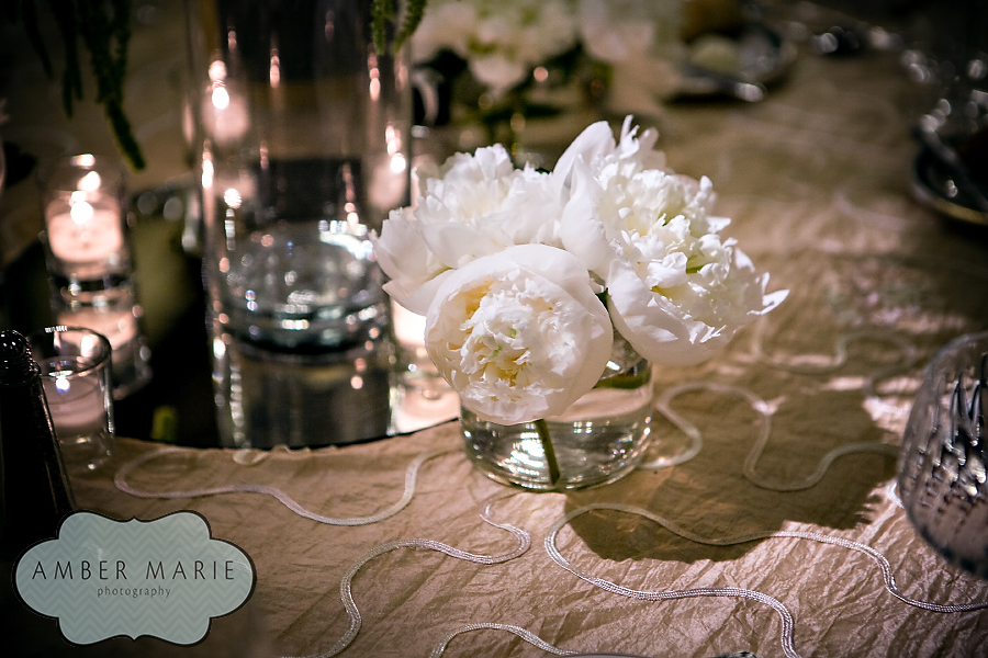 Carnegie Museums Pittsburgh Wedding Reception - Small White Peony Arrangement