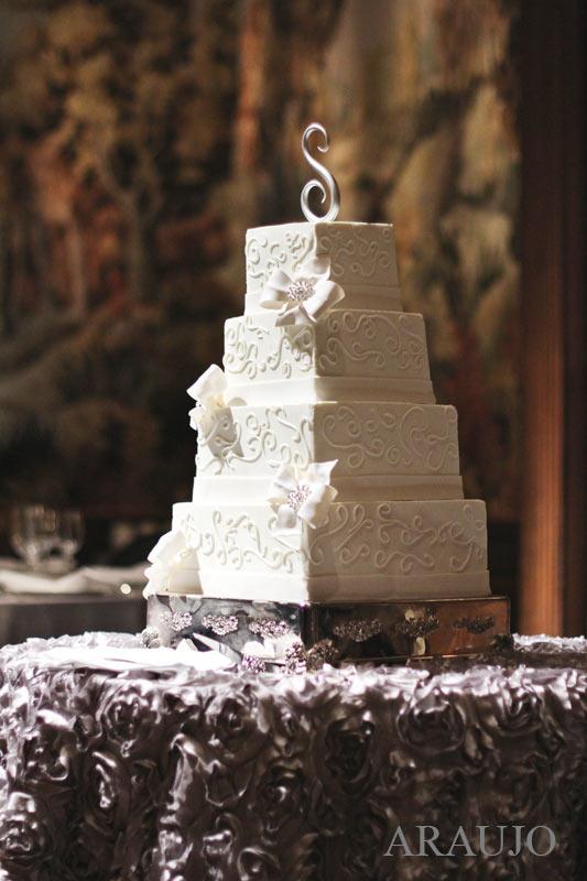 Duquesne Club Pittsburgh Wedding Reception: 4-Tier White Wedding Cake