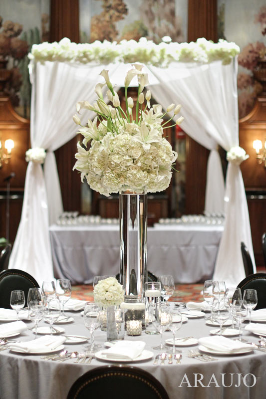 Duquesne Club Pittsburgh Wedding Reception: Tall Floral Centerpieces