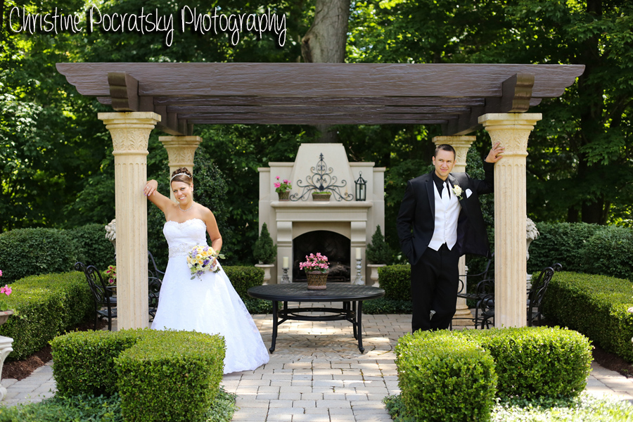 Hopwood Social Hall Wedding - Newlyweds Pose in Garden Setting