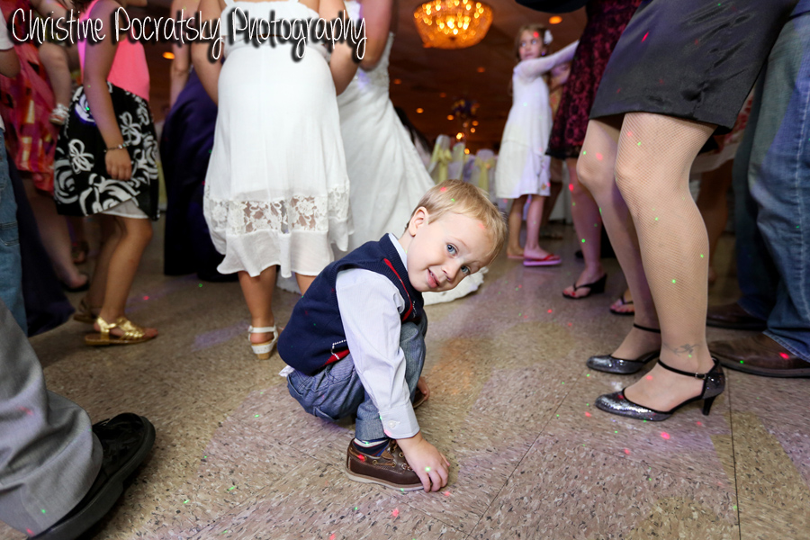 Hopwood Social Hall Wedding Reception - Adorable Child Crouching on Dance Floor