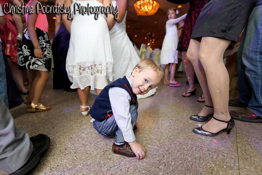 Hopwood Social Hall Wedding Reception - Adorable Child Crouching on Dance Floor