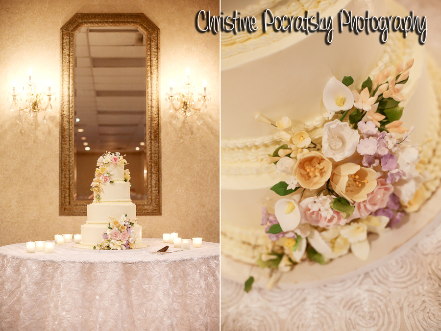 Hopwood Social Hall Wedding Reception - Wedding Cake with Yellow and Purple Flowers