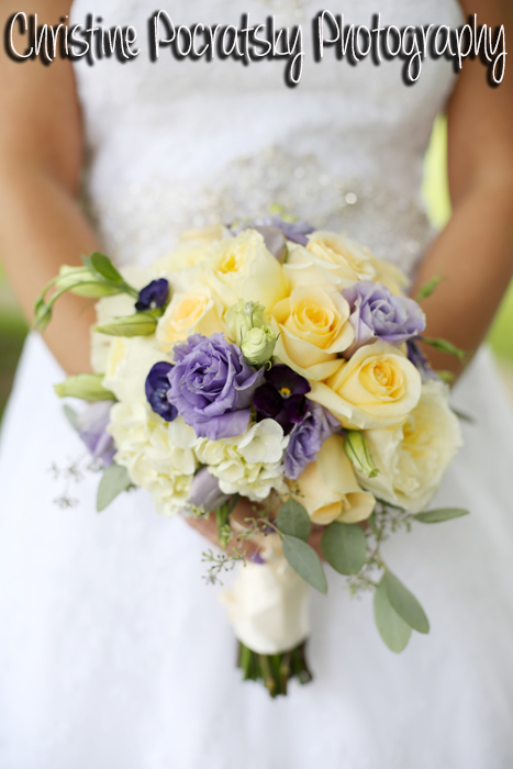 Hopwood Social Hall Wedding - Yellow and Purple Roses for Bride