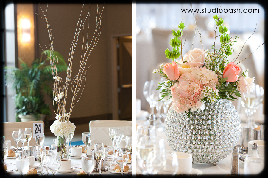 Power Center Ballroom Wedding Reception - Ornate Decor Details with Blush Peonies and Crystal Vases