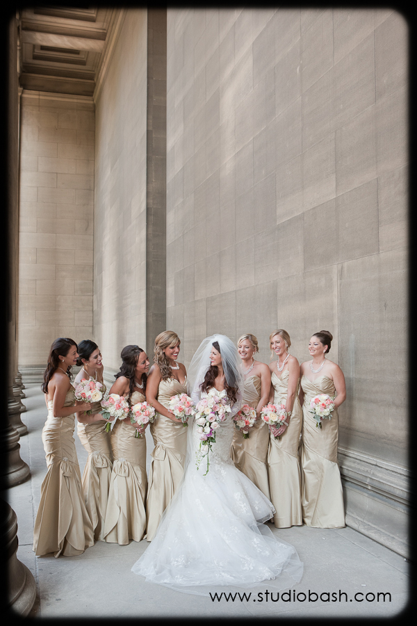 Power Center Ballroom Wedding - Bride Holds Bouquet Beside her Bridesmaids