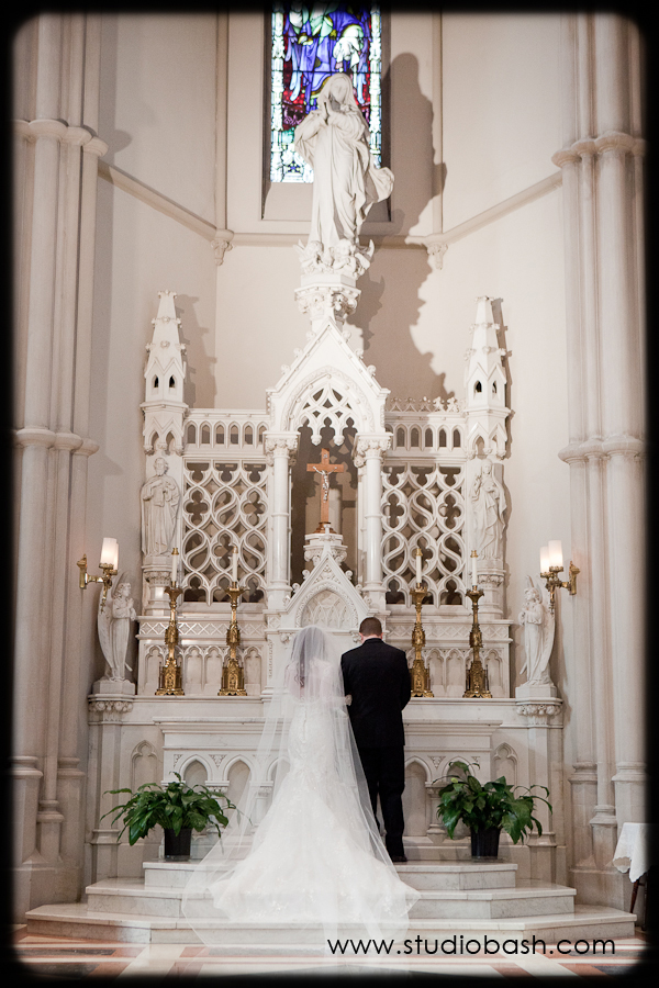 Power Center Ballroom Wedding Ceremony - Bride and Groom Say Vows Before Ornate Altar