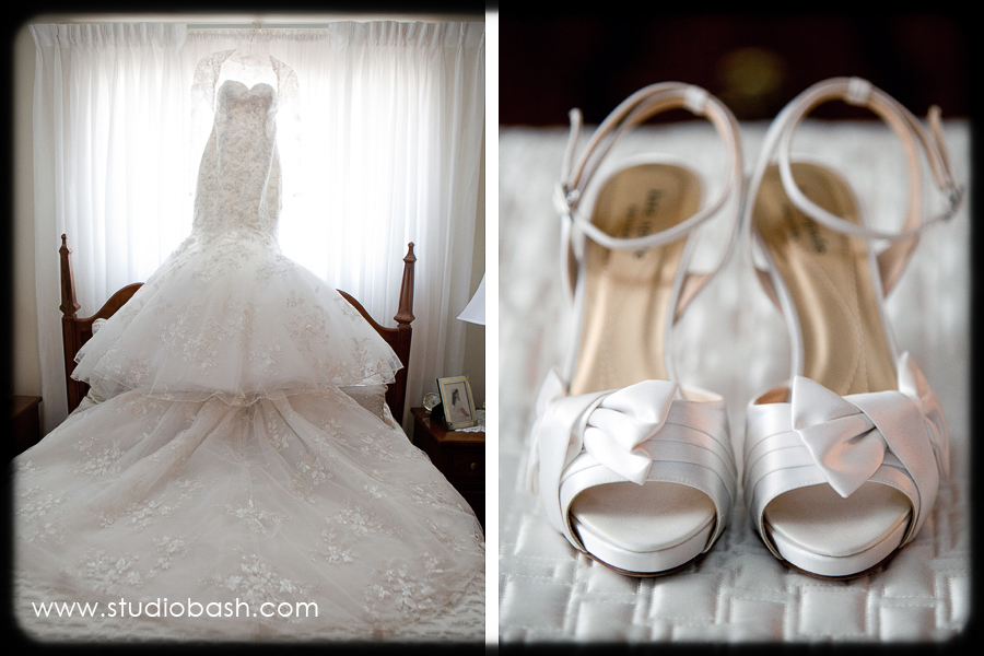 Power Center Ballroom Wedding - Bride's Beaded Gown with Lace Shrug and Shoes