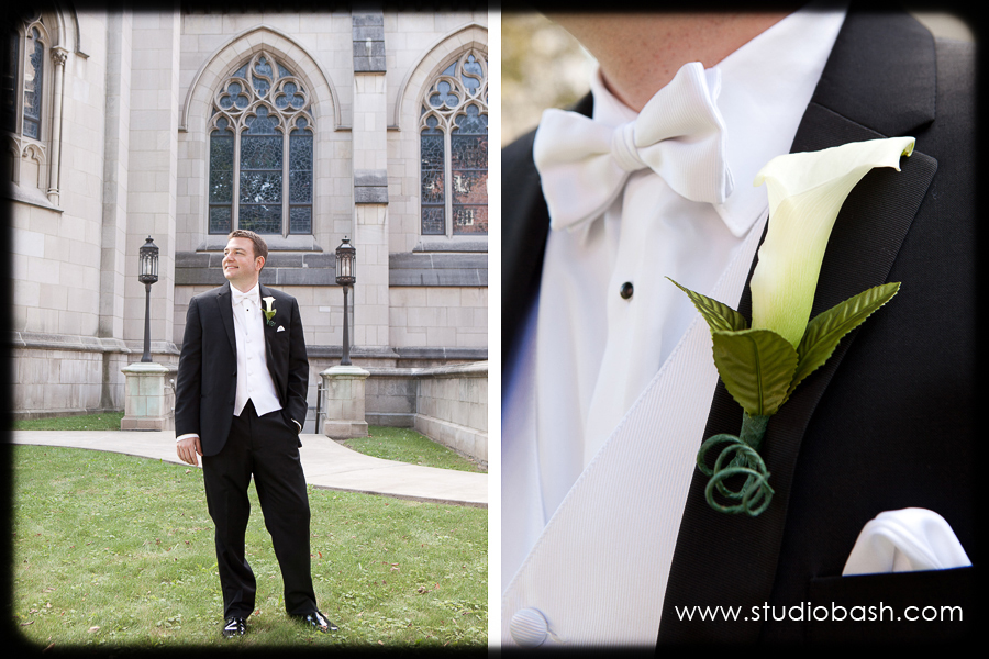 Power Center Ballroom Wedding - Groom Wearing Classic Black Tux
