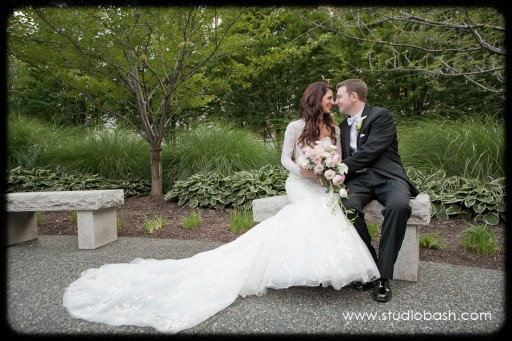 Power Center Ballroom Wedding - Newlyweds Pose in Mellon Green Park