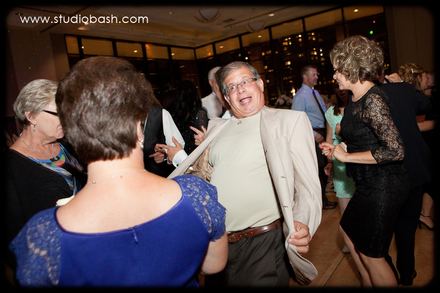 Power Center Ballroom Wedding Reception - Two Guests Dancing to Band