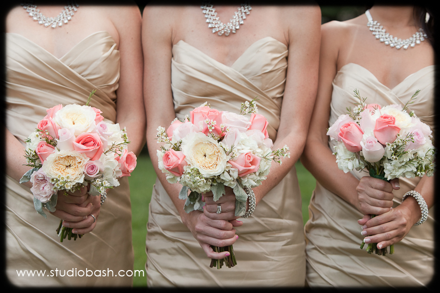 Power Center Ballroom Wedding - Bridesmaids Wore Nude Mermaid Gowns with Ivory and Blush Bouquets