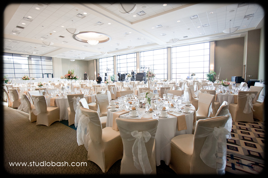 Power Center Ballroom Wedding Reception - Tables with Elegant Centerpieces and Ivory Color Scheme