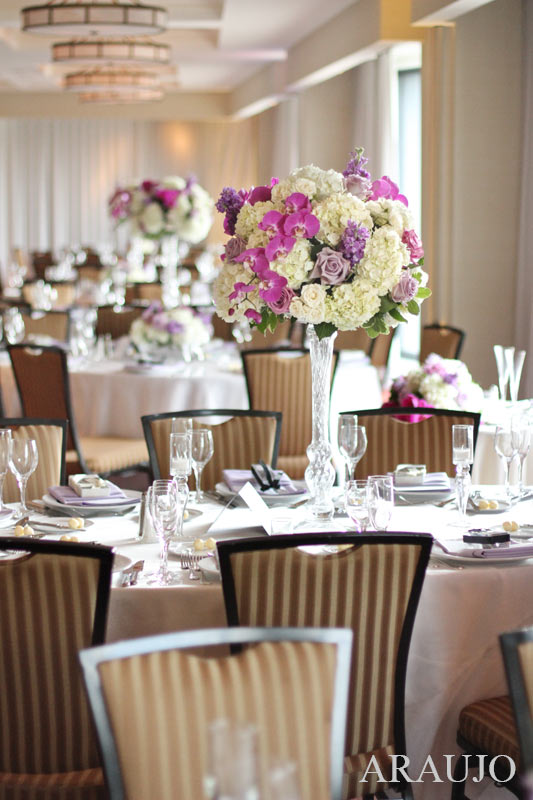 Renaissance Hotel Pittsburgh Wedding Reception - Classy Table Settings with Peonies