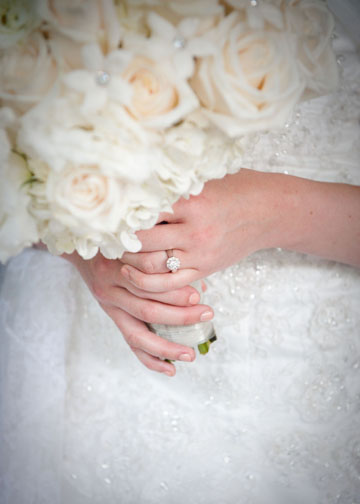 Carnegie Music Hall Wedding Pittsburgh: Bride's White Rose Bouquet and Engagement Ring
