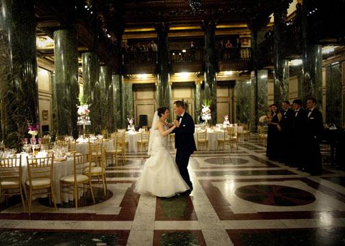 Carnegie Music Hall Pittsburgh Wedding Reception: Bride and Groom Slow Dancing