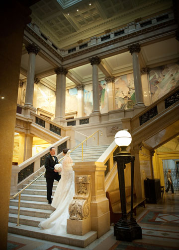 Carnegie Music Hall Pittsburgh Wedding Ceremony: Bride and Groom Meeting After Ceremony