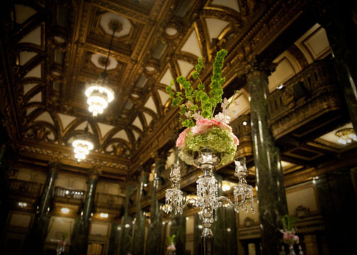 Carnegie Music Hall Pittsburgh Wedding Reception: Tall Pink Rose Centerpieces