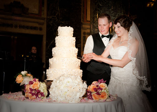 Carnegie Music Hall Pittsburgh Wedding: Bride and Groom Serve Wedding Cake