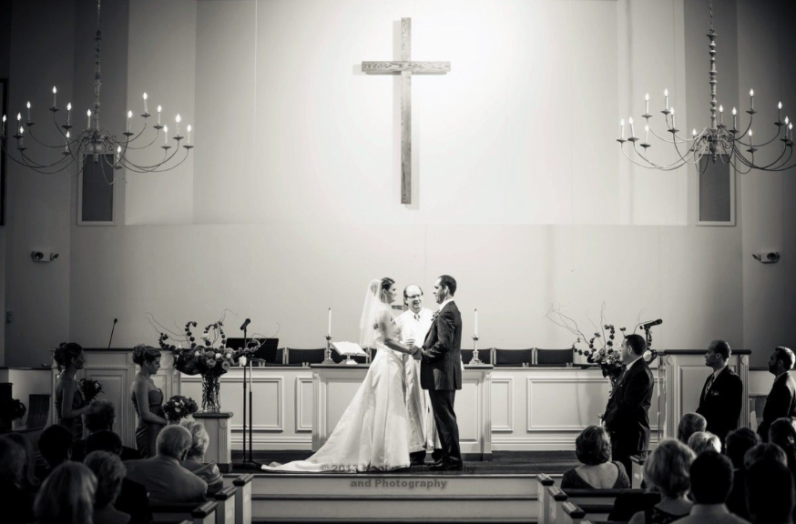 Golf Lodge at the Quarry Wedding Ceremony: Bride and Groom at Church Altar