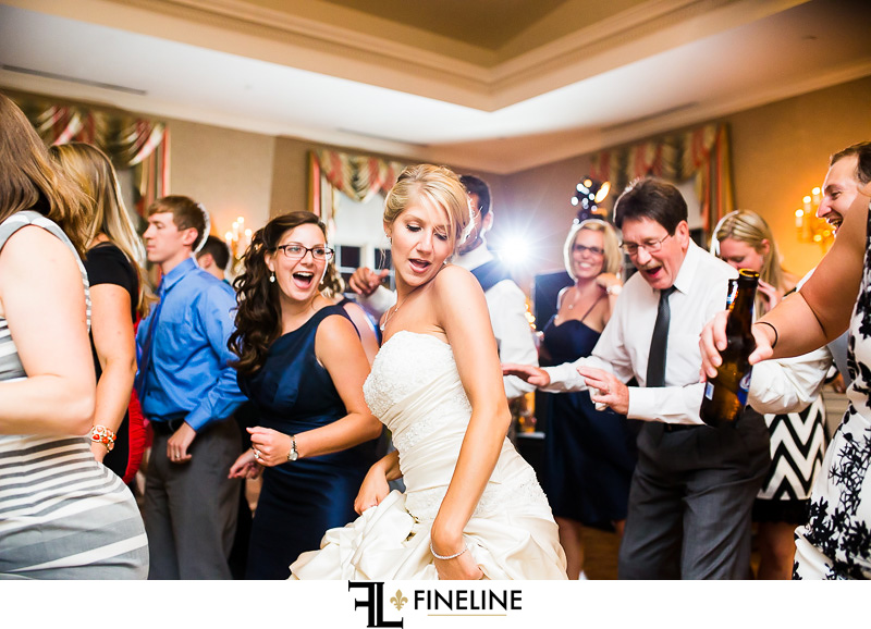 Greensburg Country Club Wedding Reception: Bride Having a Great Time