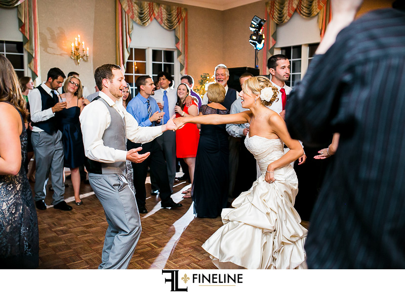 Greensburg Country Club Wedding Reception: Couple Dancing Surrounded by Guests