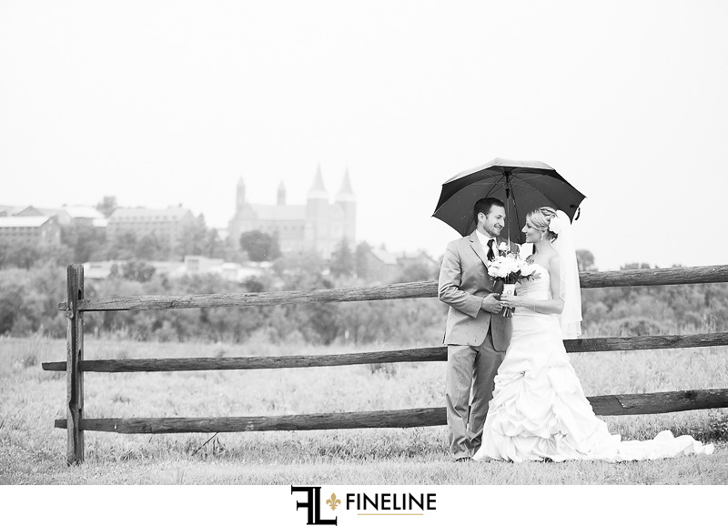 Greensburg Country Club Wedding: Bride and Groom in the Rain