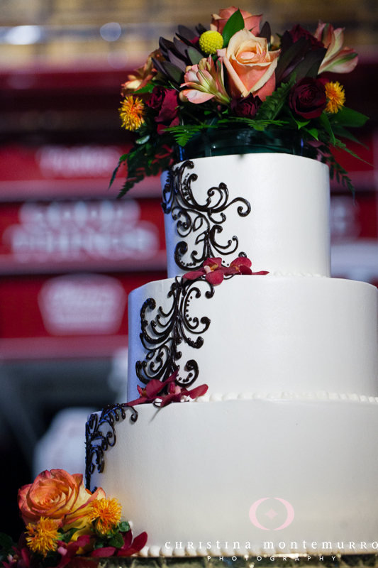 Heinz History Center Pittsburgh Wedding Recpetion - 3-Tier Wedding Cake with Black and Red Detailing