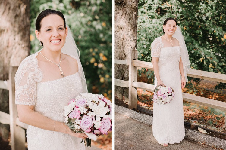 Pittsburgh Golf Club Wedding - Bride Holding Purple & White Bouquet
