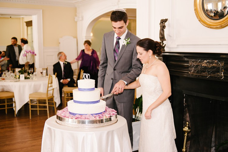 Pittsburgh Golf Club Wedding Reception - Newlyweds Cut 3-Tier Cake
