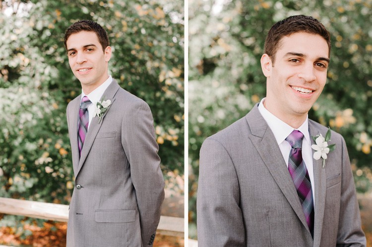 Pittsburgh Golf Club Wedding - Groom Wearing Gray and Purple Tux