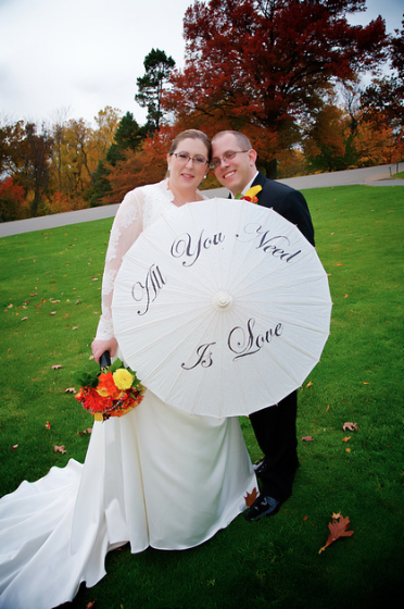 Oglebay Resort Pittsburgh Wedding - Bride and Groom Hold Parasol
