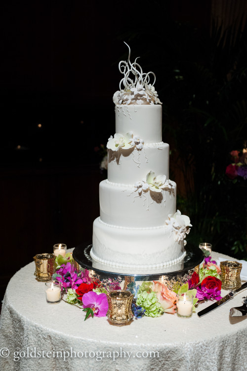uquesne Club Pittsburgh Wedding Reception - Simple Wedding Cake with Floral Accents