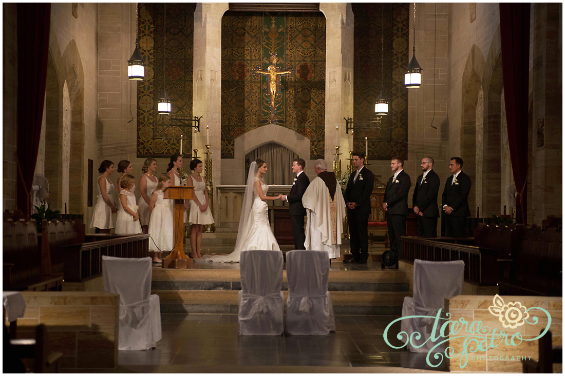 Pittsburgh Athletic Association Wedding Ceremony - Bride and Groom Wed in Catholic Church