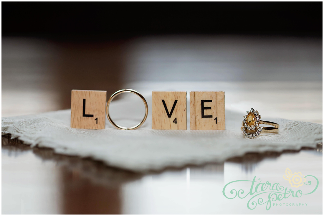 Pittsburgh Athletic Association Wedding - Wedding Ring Scrabble Pieces