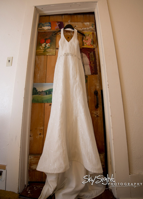 Green Gables Wedding Dress Hanging Up