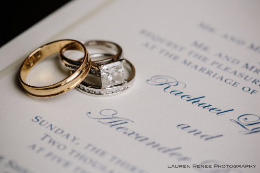 Sheraton Station Square Hotel Pittsburgh Wedding: Engagement Rings on Invitation