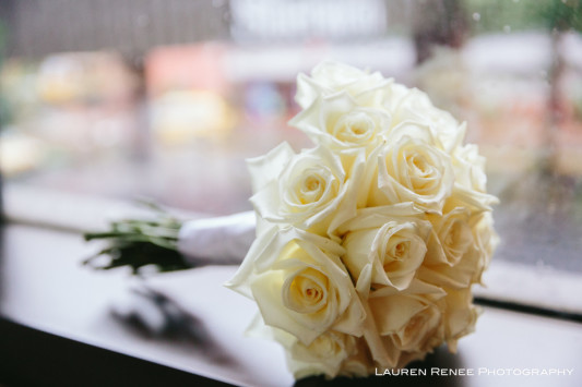 Sheraton Station Square Hotel Pittsburgh Wedding: White Rose Bouquet
