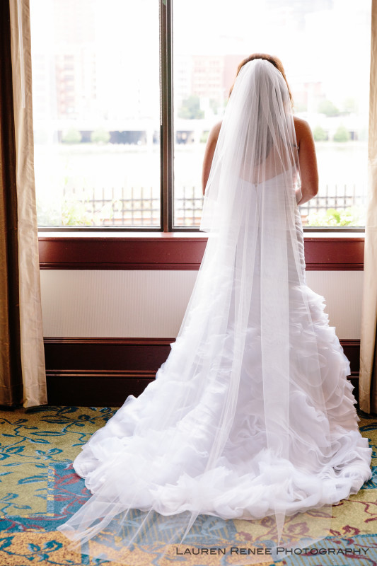 Sheraton Station Square Hotel Pittsburgh Wedding: Long Bridal Veil and Train