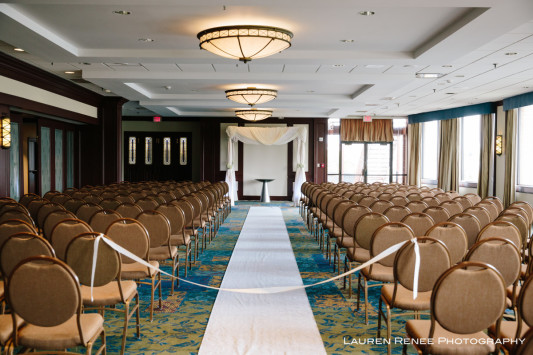 Sheraton Station Square Hotel Pittsburgh Wedding Ceremony: Banquet Room Ceremony with Natural Light