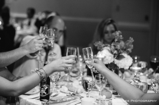 Sheraton Station Square Hotel Pittsburgh Wedding Reception: Guests Toasting