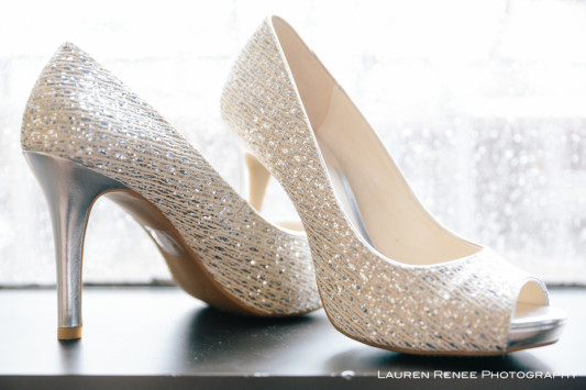 Sheraton Station Square Hotel Pittsburgh Wedding: White Crystal Shoes