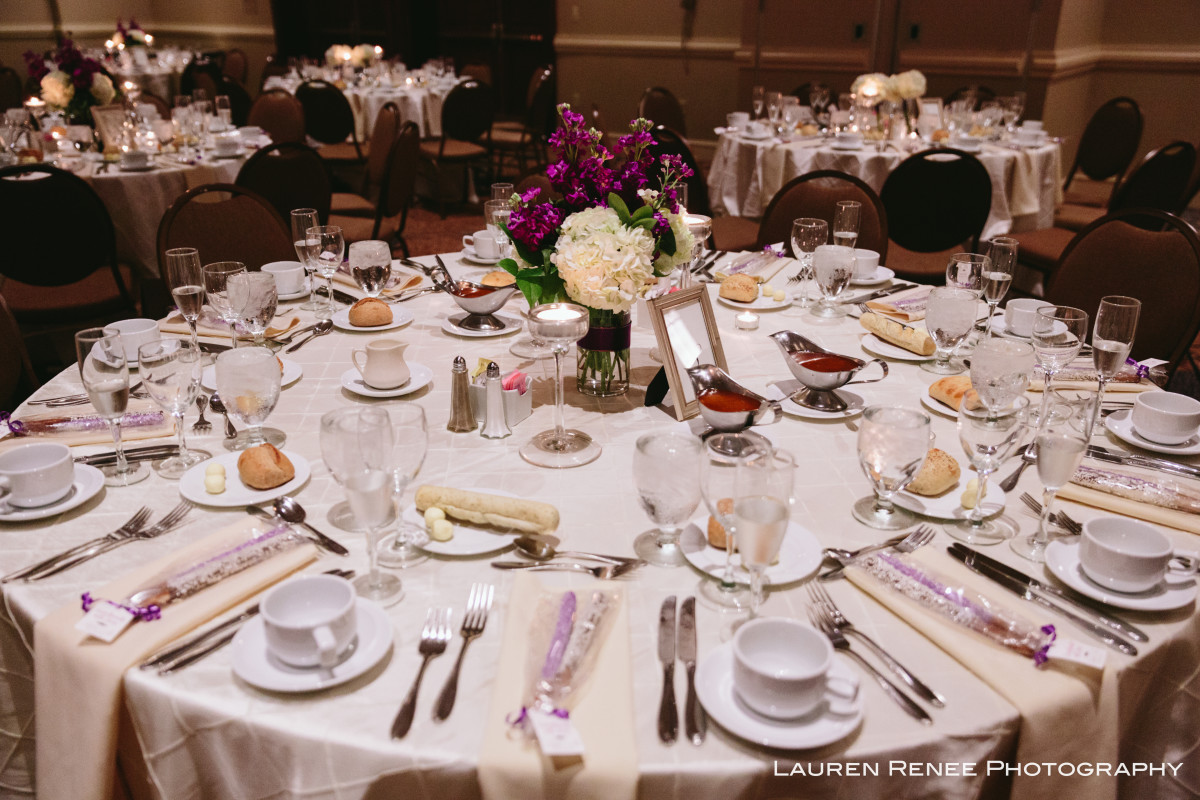 Sheraton Station Square Hotel Pittsburgh Wedding Reception: Elegant White Table Linens with Flowers