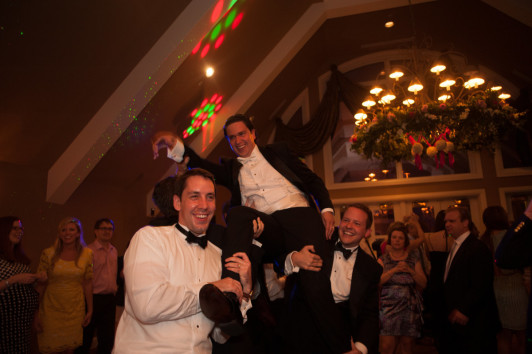 The Club at Nevillewood Pittsburgh Wedding Reception: Guys Smiling and Laughing on Dance Floor